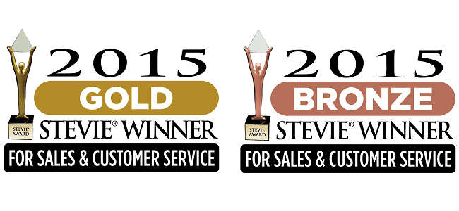 2015 Stevie gold and bronze awards for sales and customer service