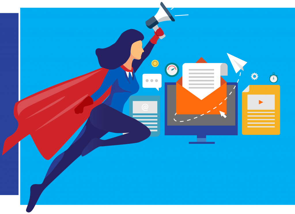 Female Super hero marketer