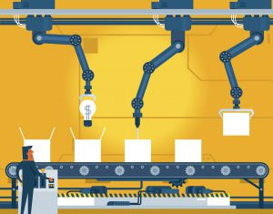 Machinery industrial factory conveyor belt. illustrator 10 eps file