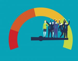 Ddetailed illustration of a customer satisfaction meter with businesspeople,
